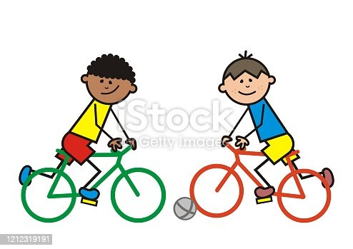 istock Bicycling, two cyclists with ball, vector illustration 1212319191