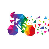 istock Bicyclist abstract triangle isolated on a white backgrounds, vector illustration 509309260
