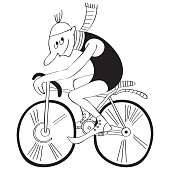 istock Bicyclist in old-fashioned style. Black and white drawing 1253471163