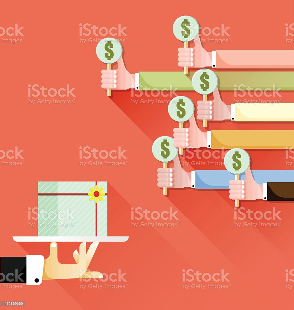Bid auction vector art illustration