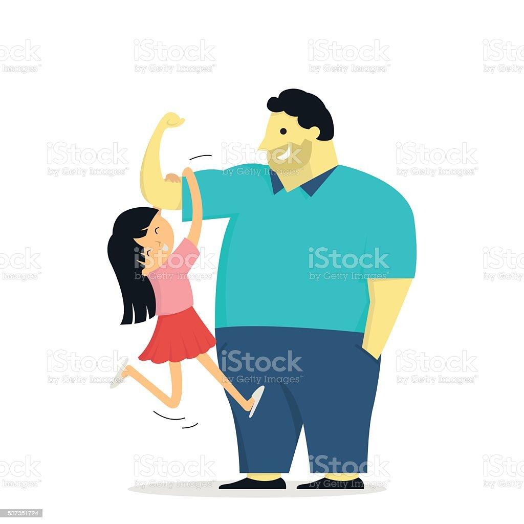 bid daddy with daughter vector art illustration