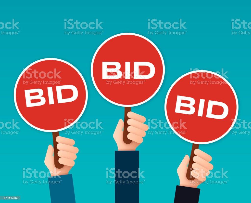 Bidder Auction Paddles vector art illustration