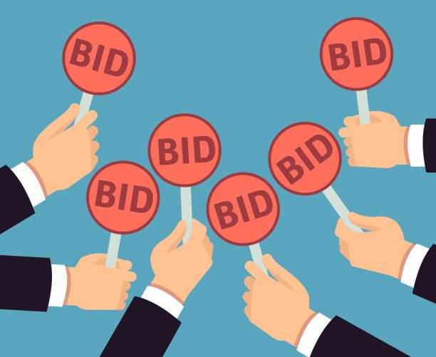 Bidder hands holding auction paddle. Buyer business vector concept vector art illustration