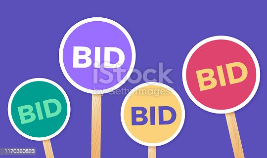 Bidding and auction paddles signs.