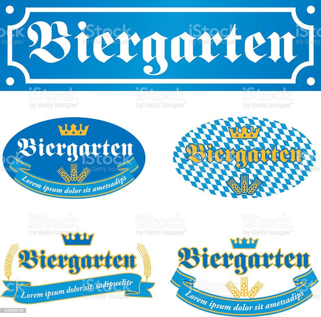 Biergarten Label vector art illustration