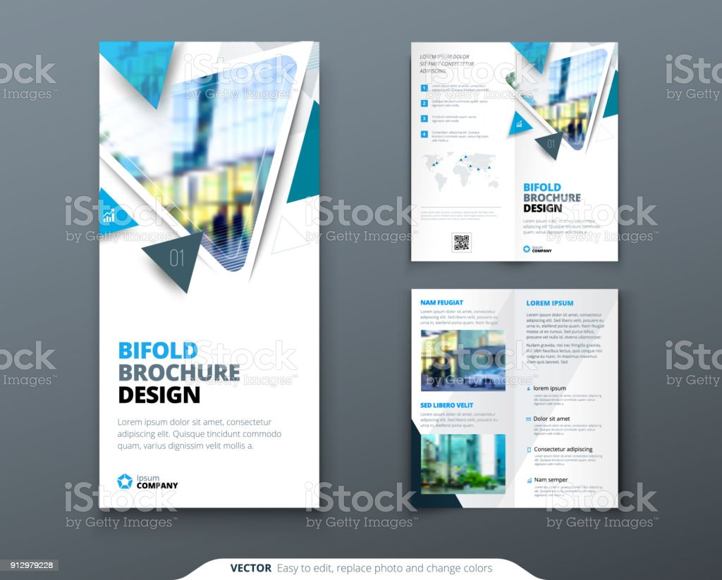 bifold brochure design blue template for bi fold flyer layout with
