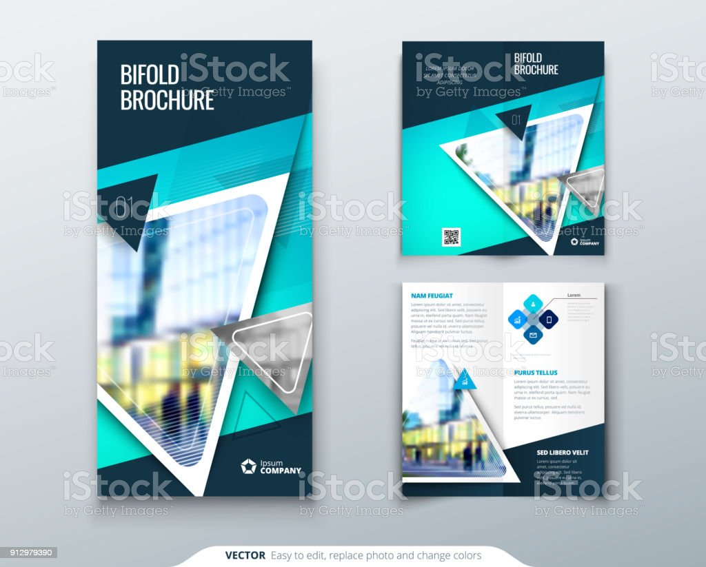 Bifold Brochure Design Teal Template For Bi Fold Flyer Layout With Modern Triangle Photo