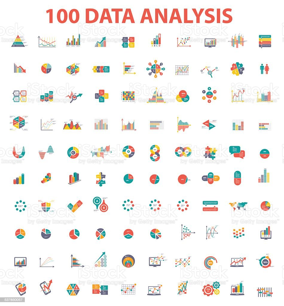 Big 100 data analysis icon set of info graphic design vector art illustration
