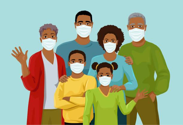 ilustraciones, imágenes clip art, dibujos animados e iconos de stock de gran familia afroamericana con máscaras de medicina - black people