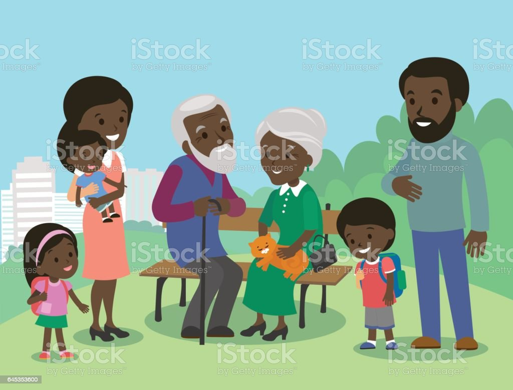 Big African family characters with mother father grandmother grandfather kids Big African family characters with mother father grandmother grandfather kids baby child set. Vector. Familiar meeting in the park. Brown skin Adult stock vector