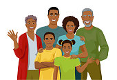 Happy big African family together. Fun grandparents, parents and children. Mother, father, grandmother, grandfather, daughter and son are standing and smiling. Isolated vector illustration