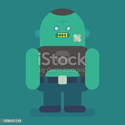 istock Big and fat zombie character. Vector character 1308431243