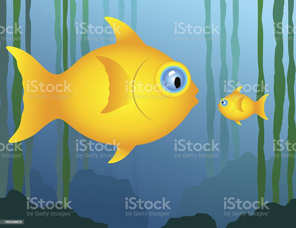 Big and little fish royalty-free stock vector art