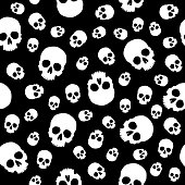 Vector seamless pattern of big and little white human skulls on a black background.