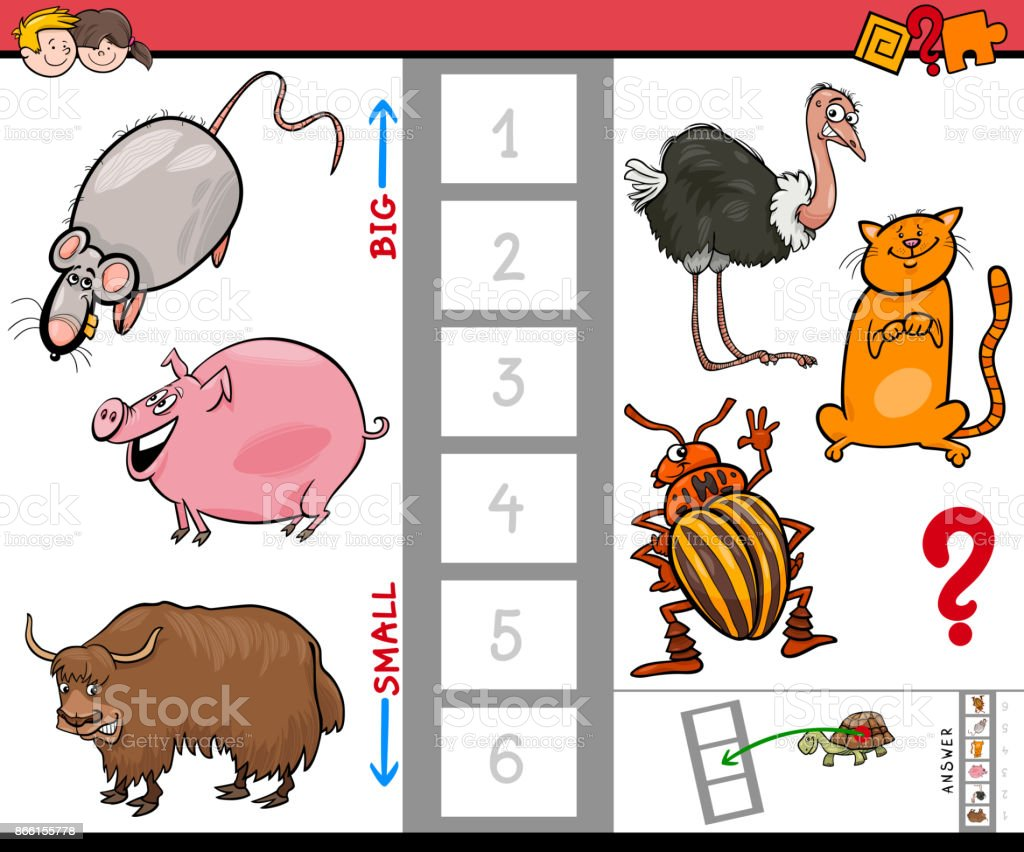 big and small animals cartoon game for kids vector art illustration