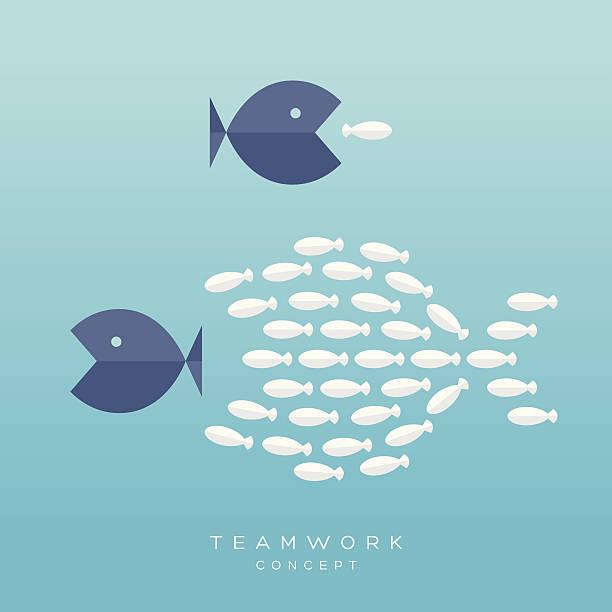 Big and Small Fish Teamwork Concept vector art illustration