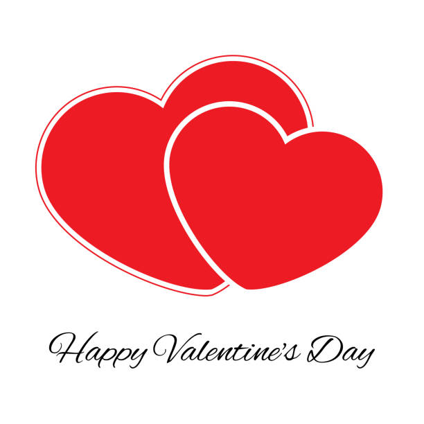 Big And Small Red Heart Romantic Love Symbol Of Valentine Day Stock
