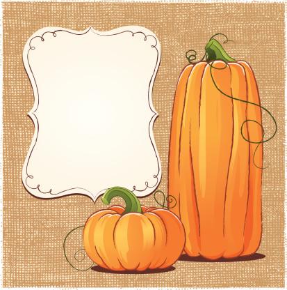 Two pumpkins, burlap texture background