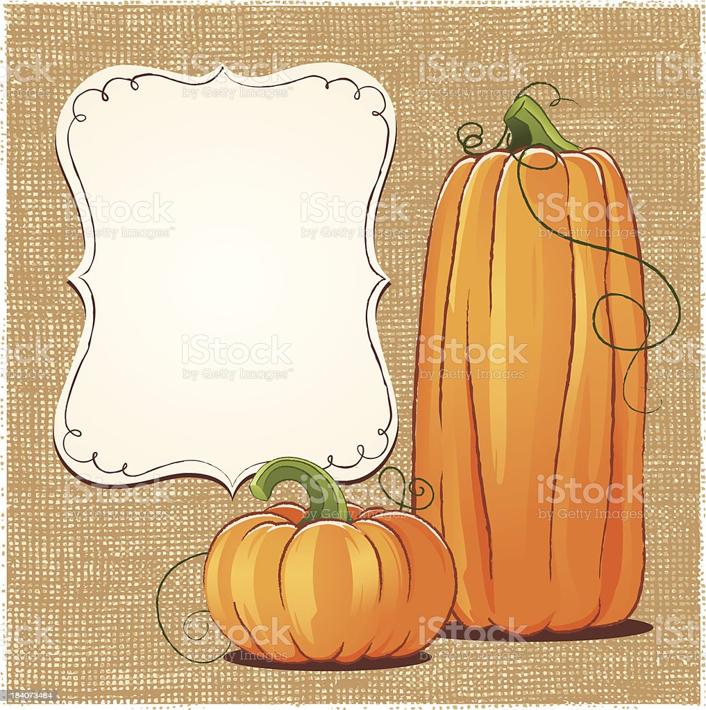 Big and small squash trying to solve the blank board dilemma vector art illustration