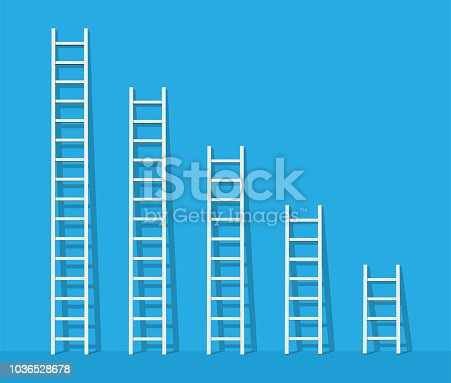 Big and small white step ladder near the wall. Vector illustration.