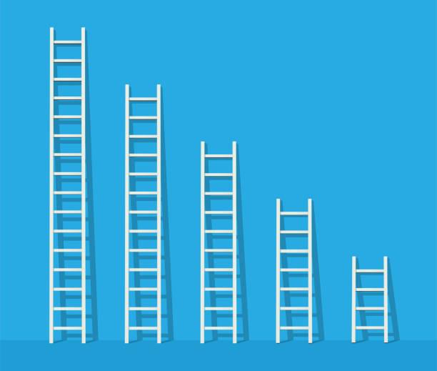 stockillustraties, clipart, cartoons en iconen met grote en kleine witte stap ladder in de buurt van de muur. vectorillustratie instellen. - lang lengte