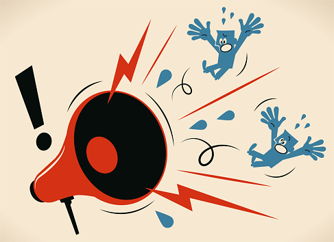 Blue Little Guy Characters Vector Art Illustration. Big angry megaphone shouting at two blue guys.