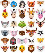 vector illustration of big animal head cartoon collection