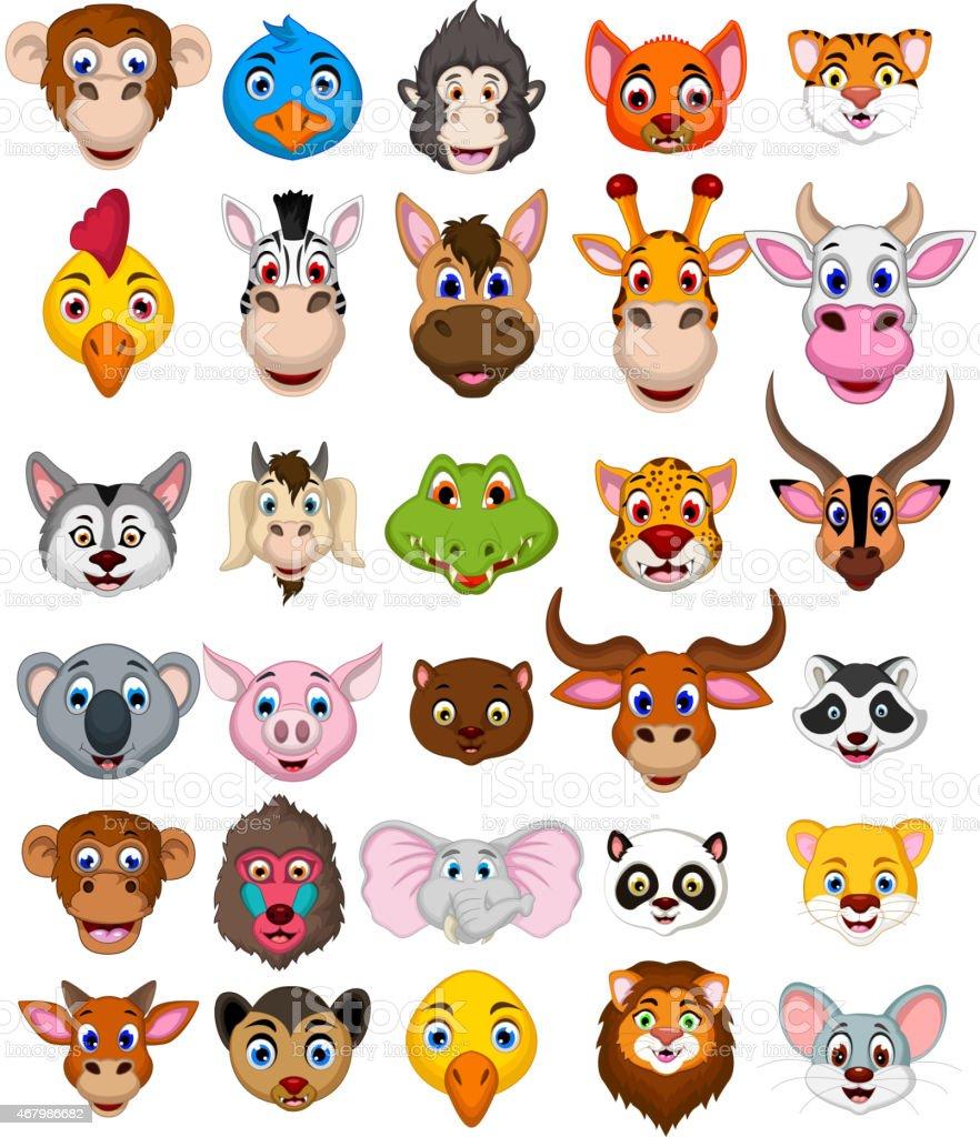 big animal head cartoon collection vector art illustration