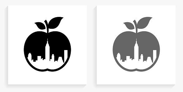 Big Apple Black and White Square Icon