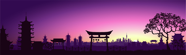 Big Asian city. Cityscape with a beautiful sunset. Cyberpunk and retro wave style illustration. Vector illustration.
