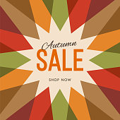 Big autumn sale banner with sun. Sun with rays. Autumn template poster design for print or web. Stock illustration