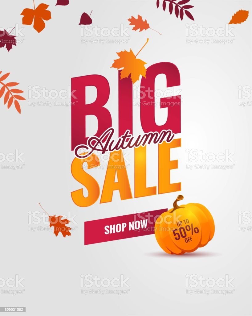Big autumn sale poster. vector art illustration