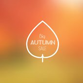 Big Autumn Sale Vector Retro Poster witn Blurred Background