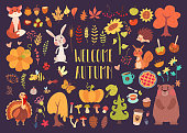 Big autumn set of cartoon characters