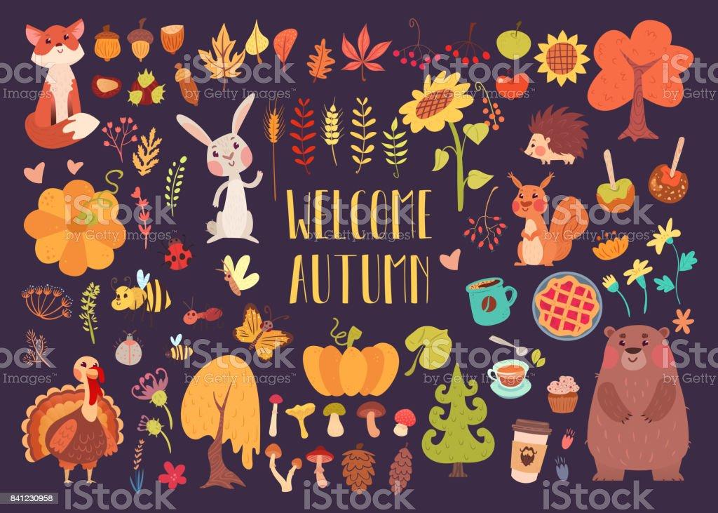 Big autumn set of cartoon characters vector art illustration