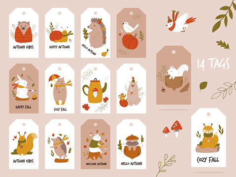 Big autumn set of tags, labels with cute forest animals.