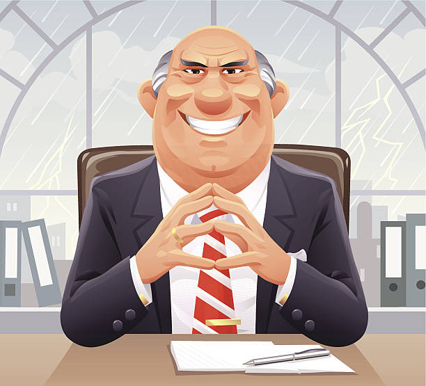 Big Bad Boss A smirking senior businessman sitting at his desk in front of a window on a rainy day. EPS 10, everything grouped and labeled in layers. dishonesty stock illustrations