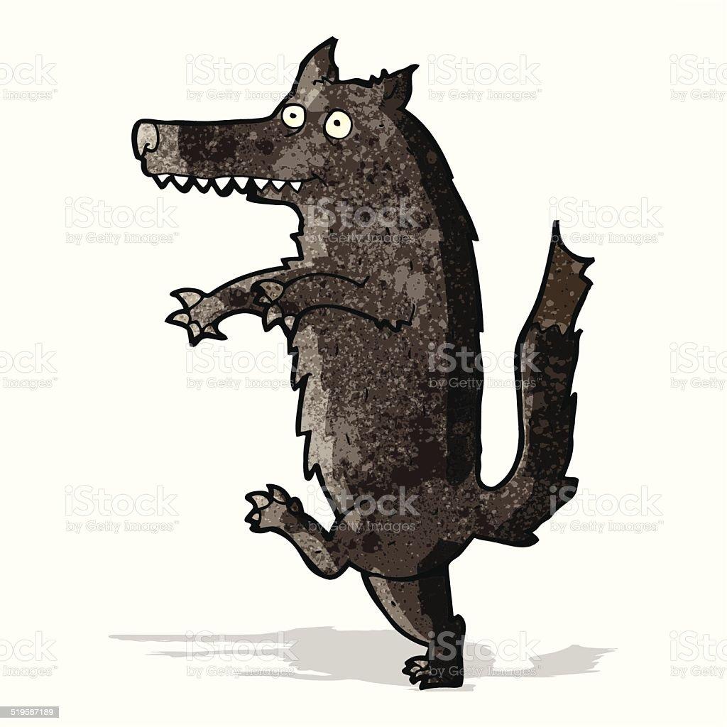 big bad wolf cartoon vector art illustration
