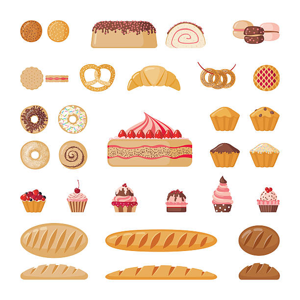 Big bakery set Big set of bakery elements. Vector illustration. bread clipart stock illustrations