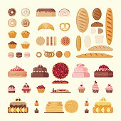 Set of bakery elements: cakes, biscuits, bread, pastries and etc. Bakery icons. Vector illustration.