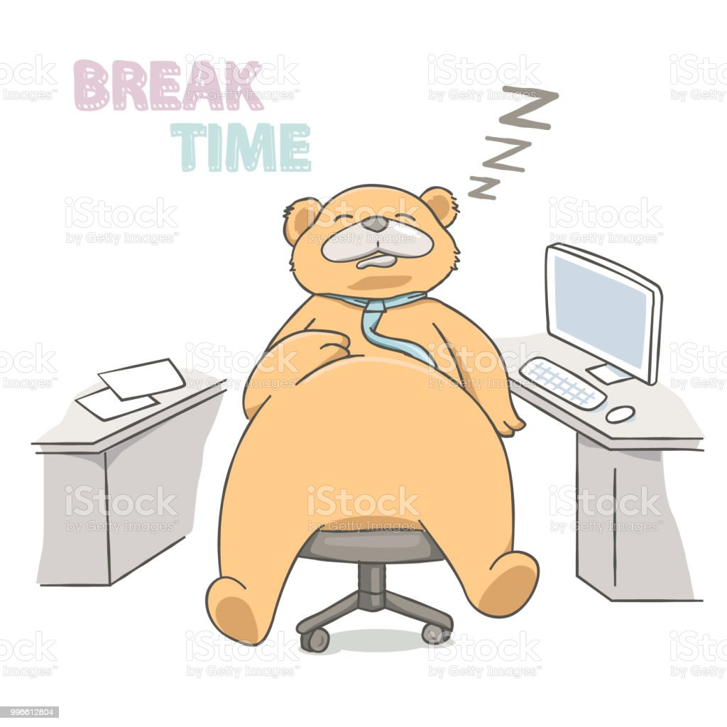 Big bear sleeping on a chair at working place vector art illustration