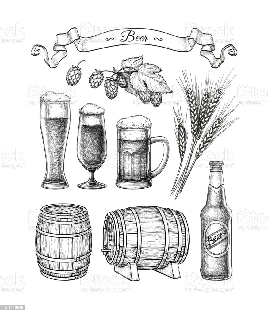 Big beer set. - illustrazione arte vettoriale
