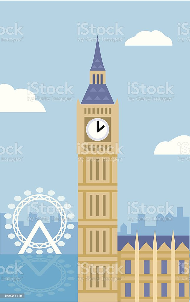 Big Ben and the London Eye royalty-free stock vector art