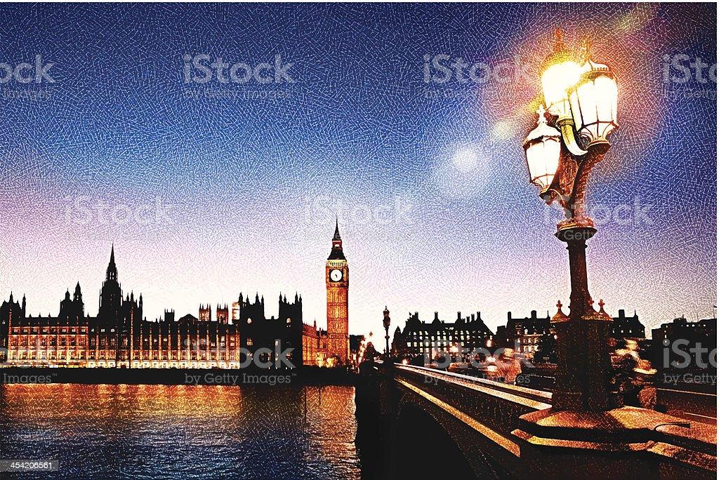Big Ben And Westminster Bridge vector art illustration