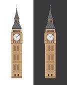 London Big Ben clock tower flat vector illustration. British touristic landmark, travel attraction.
