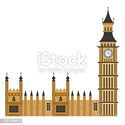 istock Big Ben clock tower. Vector flat icon of London building isolated on white background. 1257378472