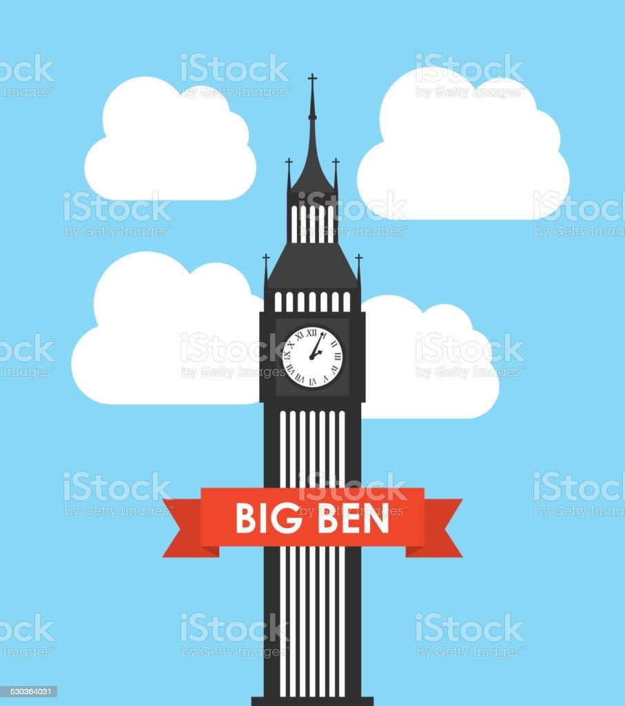big ben design vector art illustration