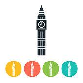 Big Ben flat icon - color illustration