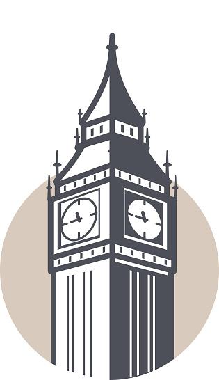 Big Ben, London, landmark flat icon design, vector