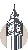 Big Ben, London, landmark flat icon design, vector